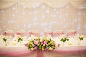 Ivory top table starcloth hire